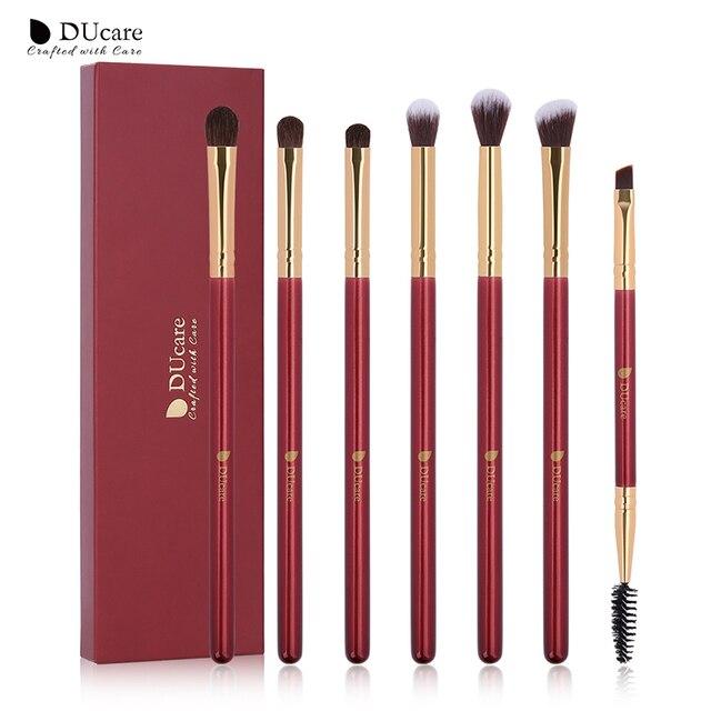 DUcare pinceles de maquillaje 6/7 piezas ojo maquillaje cepillo conjunto de sombra de ojos mezcla cepillo de cejas naturales cosmética cabello Kit de herramientas esenciales