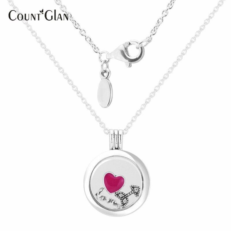 Amour sentiment moyen flottant médaillon collier en argent avec trois Petites 100% 925 collier en argent Sterling bijoux à bricoler soi-même