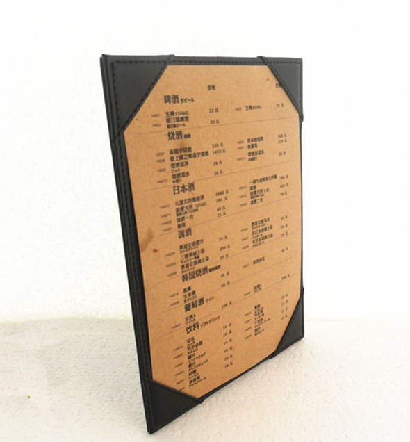 Restaurant handmade PU leather menu board small quality customized pu leather menu holder restautant menu covers custom leather folders pvc page with high quality accept customized order