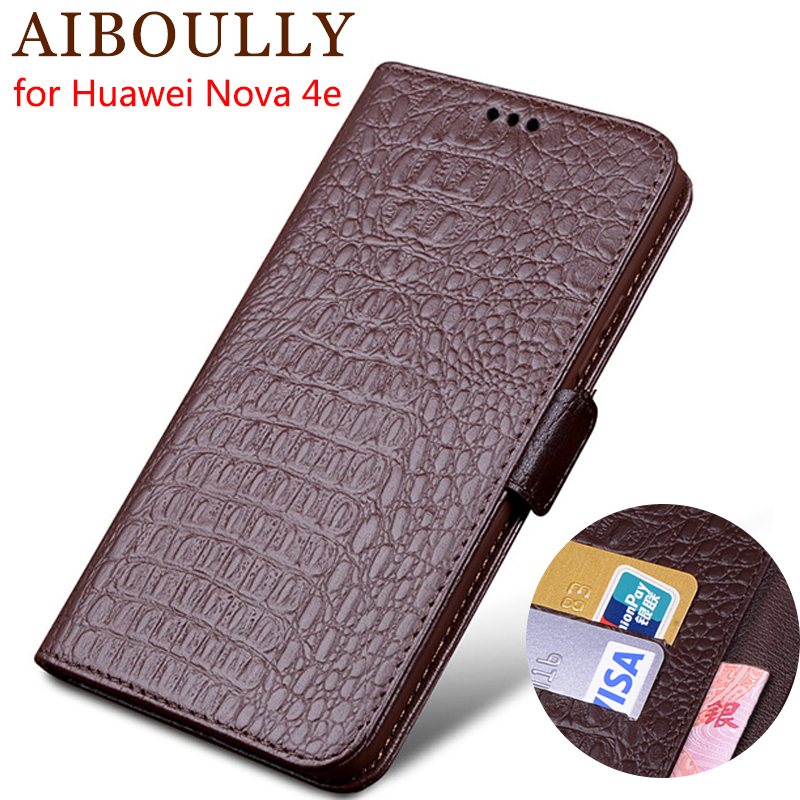 AIBOULLY Genuine Leather Flip Case For Huawei Nova 4e Nova 3 4 Protective Phone Cover Leather Wallet Silicon Cases