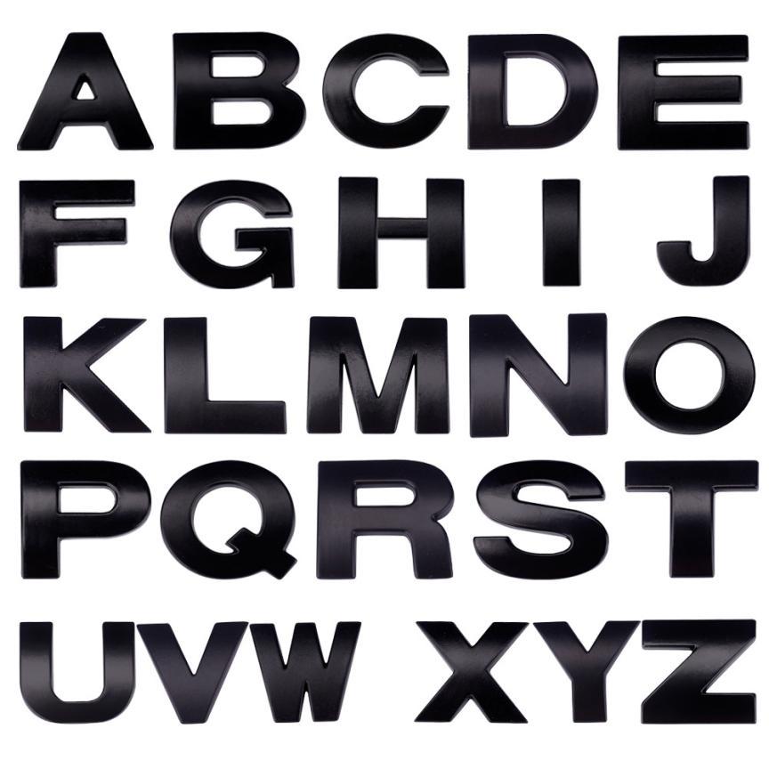 Car Sticker (A-Z) 3D DIY Metallic Alphabet Sticker Car Emblem Letter Silver Badge Decal