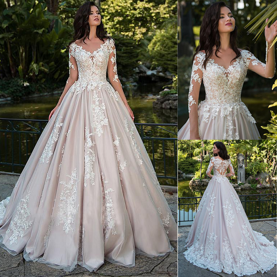 Fascinating Tulle Bateau Neckline A line Wedding Dresses With Lace Appliques Dark Nude Long Sleeves Bridal