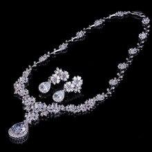 Прозрачный кубический цирконий Кристалл Свадебные украшения, серебряные наборы Цвет Teardrop Цветок колье, серьги кольцо обручальное ювелирные изделия