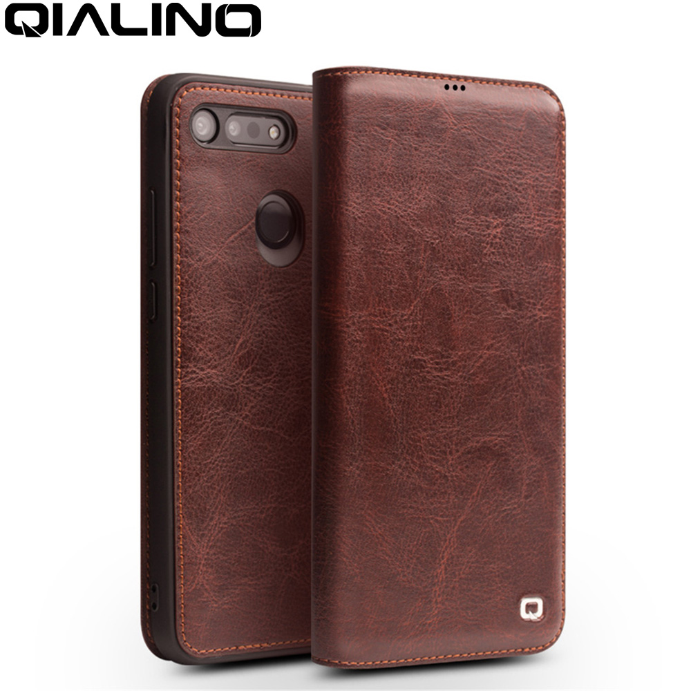 QIALINO Luxury Handmade Genuine Leather Phone Cover For Huawei Honor V20 Ultrathin Flip Case With Card Slot For Honor View 20
