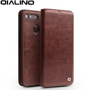 Image 1 - QIALINO יוקרה בעבודת יד אמיתי עור טלפון כיסוי עבור Huawei Honor V20 Ultrathin Flip מקרה עם כרטיס חריץ לכבוד צפה 20