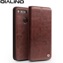 جراب هاتف من جلد طبيعي فاخر صناعة يدوية من QIALINO لهاتف Huawei Honor V20 جراب قلّاب فائق النحافة مع فتحة لبطاقة لهاتف Honor View 20