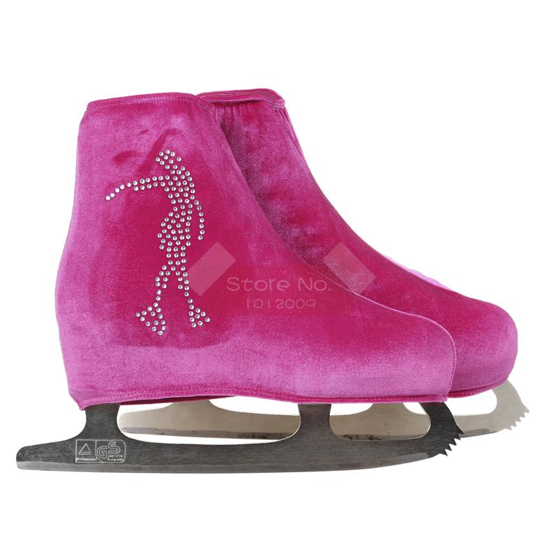 24 Colors Child Adult Velvet Ice Skating Figure Skating Shoes Cover Roller Skate Fabric Accessories White Skater 3 Rhinestone 26