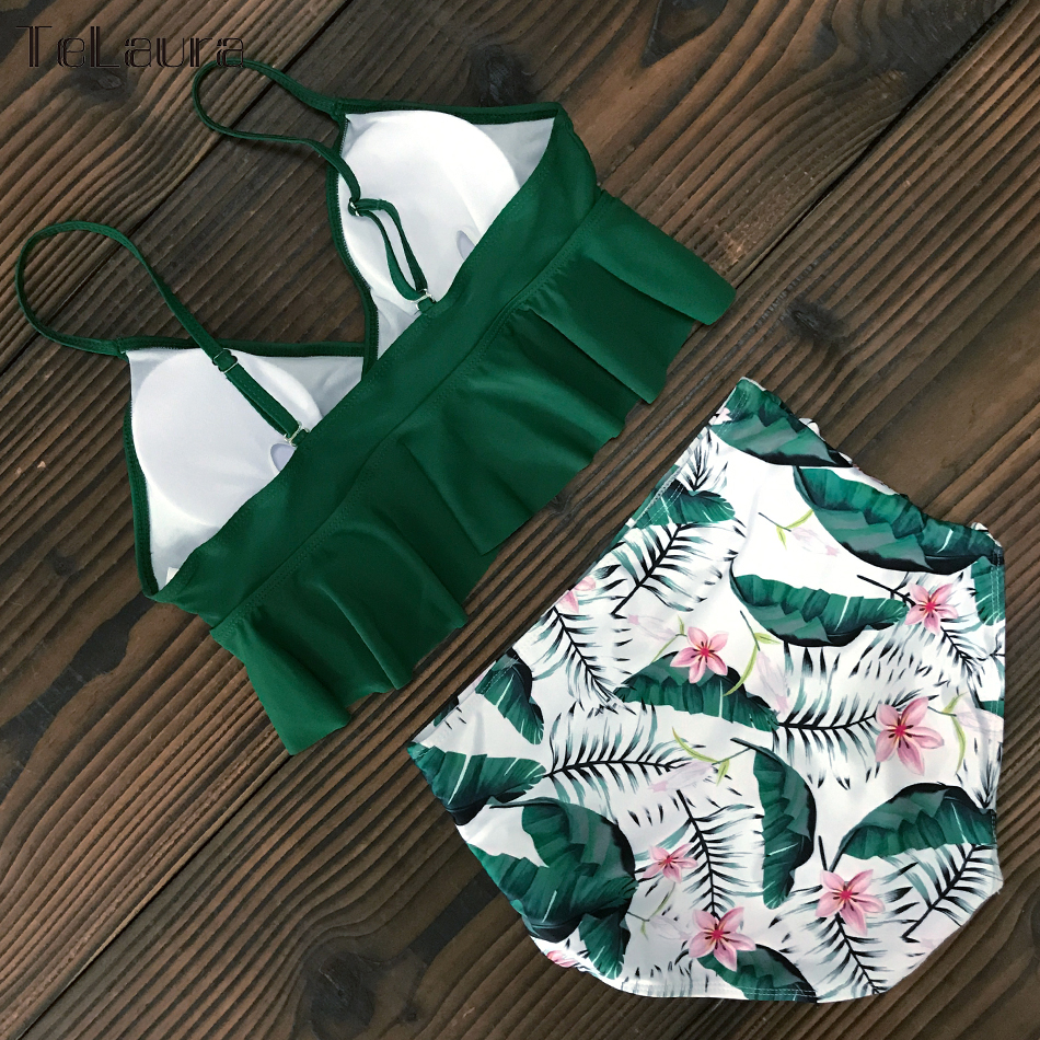 HTB1yZwMVrrpK1RjSZTEq6AWAVXaX 2019 New Sexy High Waist Bikini Swimwear Women Swimsuit Push Up Ruffle Bathing Suit Biquini Plus Size Swimwear Female Beach Wear