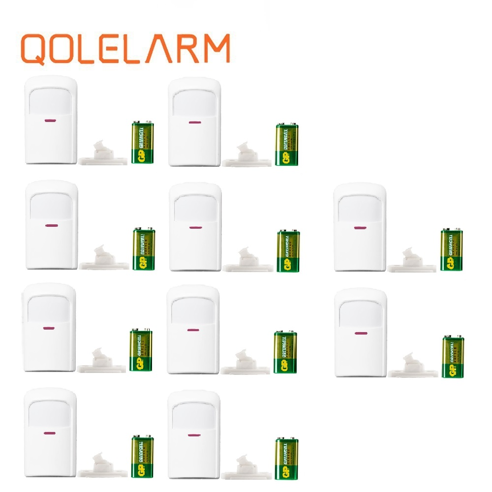 Qolelarm gebaut in antenne 1/4/10 pc lot 433mhz batterie + AC dual power drahtlose Infrarot sensor PIR Motion detektor Für home alarm