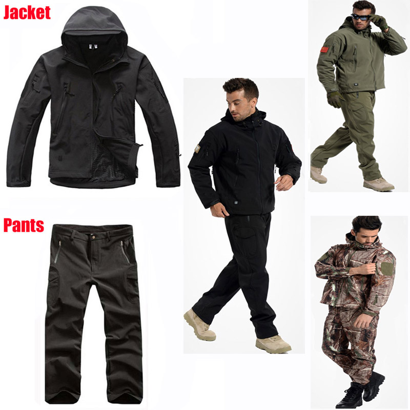 Tactical Waterproof Soft Shell Pants Men Windproof Military Trouser Shark Skin H