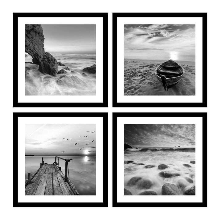 Beach Photography Unframed Silver Grey Seascape Photo Ocean Photographic Print Large Monochromatic Home Decor Sophisticated Nature