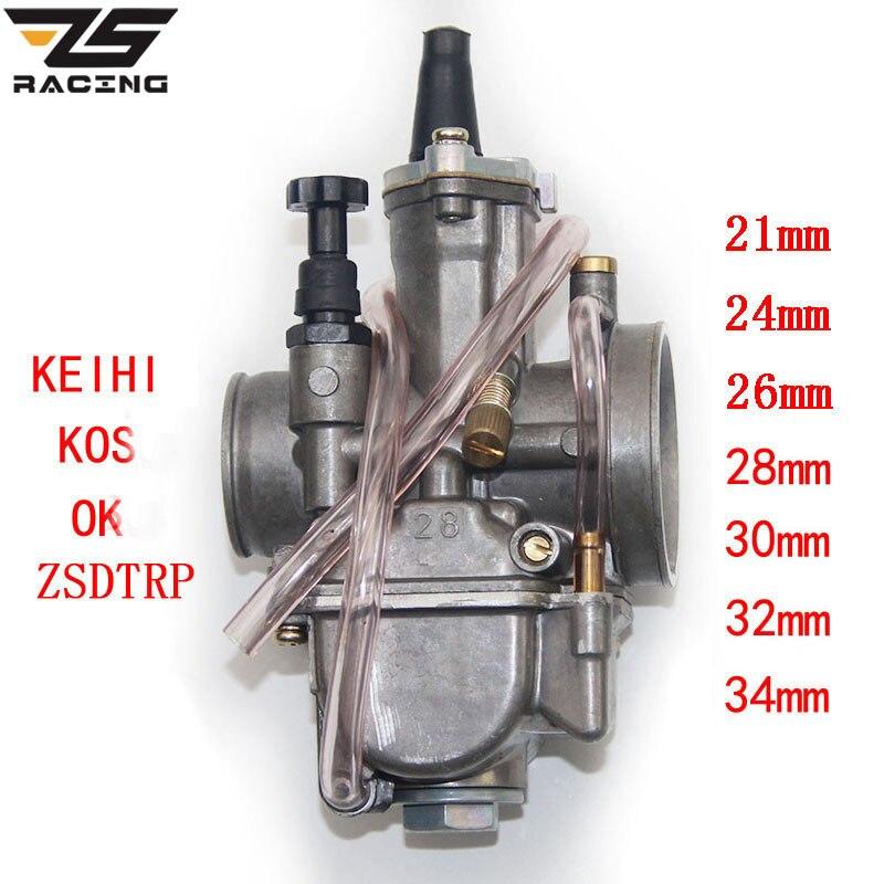 ZS Racing 2T 4T Universal Keihin Koso OKO Motorcycle Carburetor Carburador 21 24 26 28 30 32 34mm With Power Jet For Racing Moto Мельница