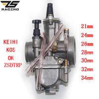 ZS Racing 2 t 4 t Universal Keihin Koso OKO Motorrad Vergaser Carburador 21 24 26 28 30 32 34mm Mit Power Jet Für Racing Moto