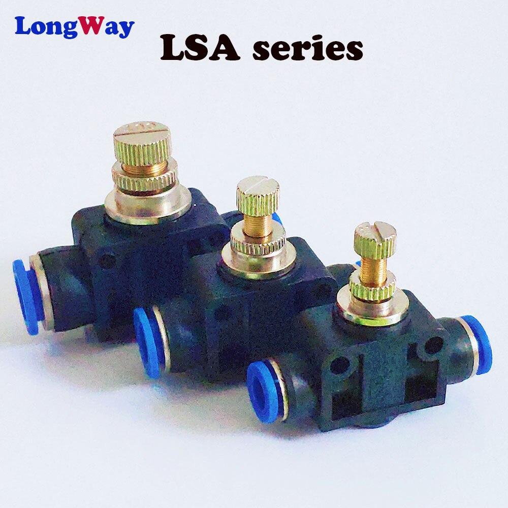 Regulador De Fluxo De Ar pneumático Montagem 6mm 8mm 10mm OD Mangueira Tubo de Fluxo de Gás Ajustar Conector de Encaixe Da Válvula de Ar velocidade De Controle Do Guindaste
