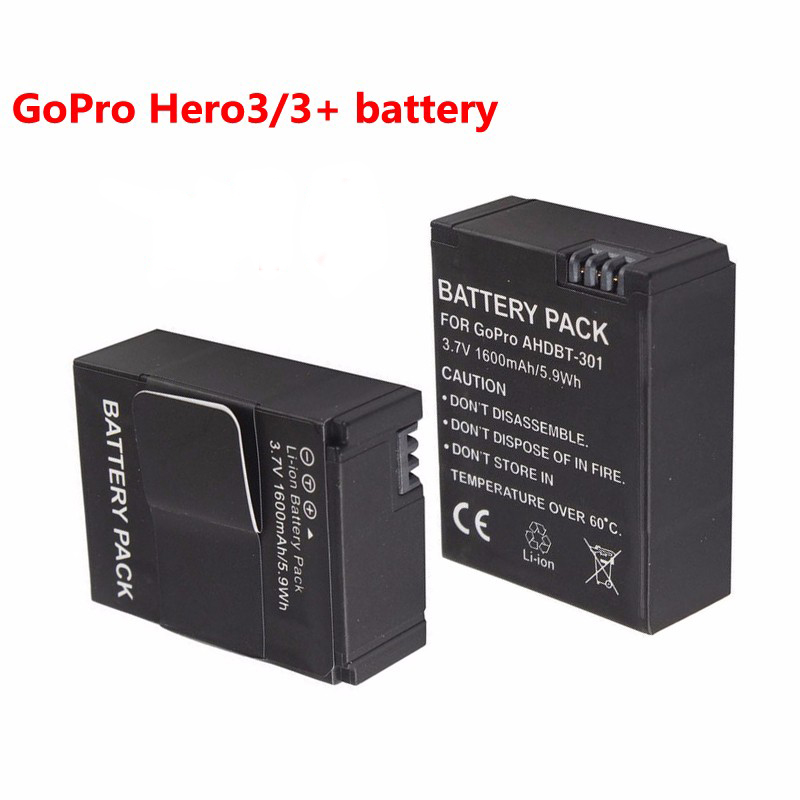 2pcs lot 1600mAh Akku Go Pro Hero 3 3 battery batterie AHDBT 301 AHDBT301 AHDBT 201