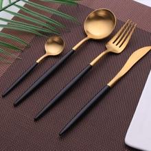 1Pcs Black Gold Dinnerware Set 304 Stainless Steel Silverware Cutlery Set Fork Knife Spoon Dessert Kitchen Dinner Food Tableware
