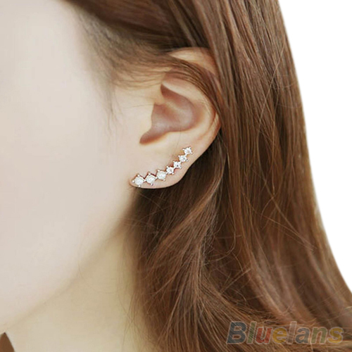 Hot 1 Pair Fashion Plated Meteor Shower Crystal Rhinestone Ear Clip Stud Earrings Women 1TKO 7F3Q BEHO