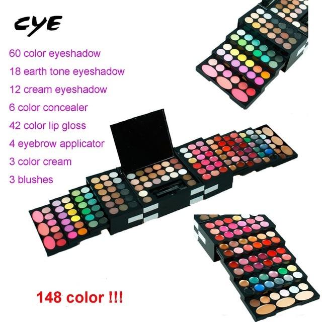 2016 Full Combination Cosmetic Makeup Palette 148 Colors Eyeshadow Primer Luminous Eye shadow Palette lip gloss concealer powers