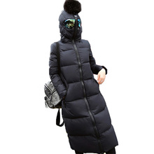 2016 New Fashion Winter Women Cotton Padded Jackets And Coats Long Hooded With Glasses Female Parkas Slim Women Outwear SW170