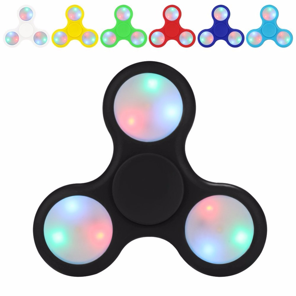 KOSBON Fidget Spinner LED Light with Switch Plastic EDC Hand Spinner For Autism and ADHD Relief