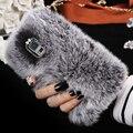 Luxury Real Мех Кролика Чехол Для Samsung Galaxy S5 Пушистый алмазный Обложка Для Samsung Galaxy S5 i9600 Кролика Волосы Коке Капа