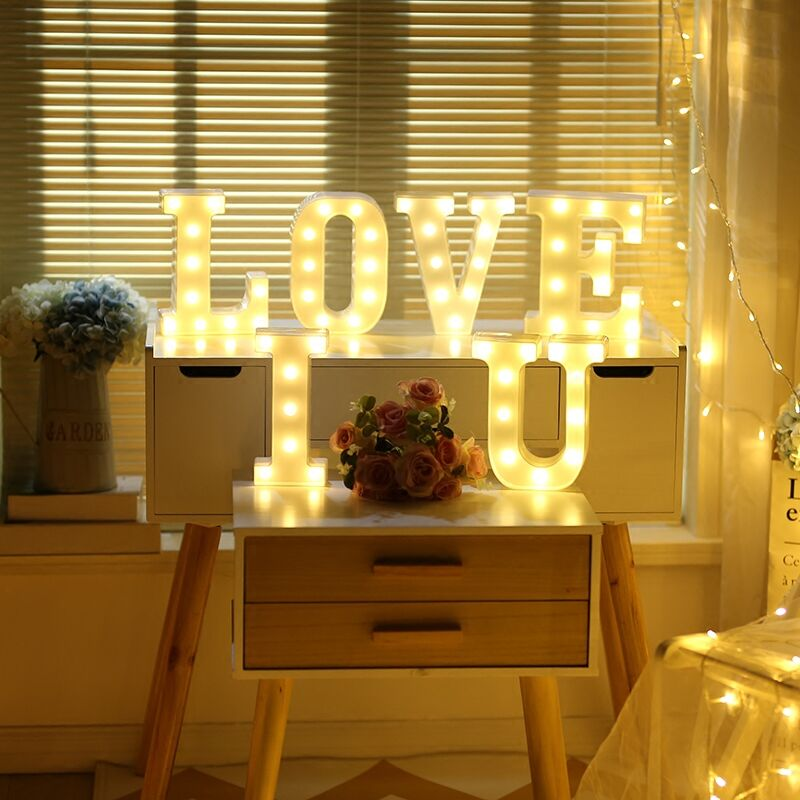 English alphabet decorative lights wedding party display window letters white light gift MARRY ME