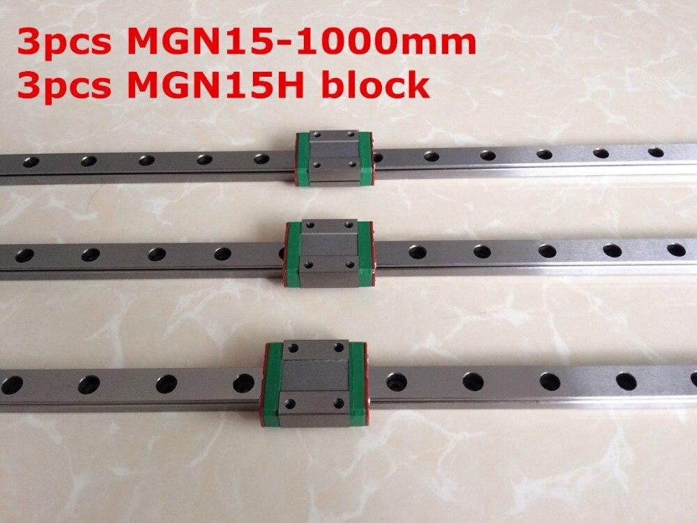 3 pièces MGN15-1000mm linéaire rail + 3 pièces MGN15H long tablier de type