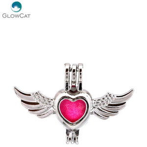 K650 5pcs/lot Heart Wing Note Pearl Beads Cage Pendant Locket Fairytale Party Essential Oil Diffuser(China)