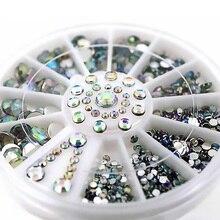 I Wheel AB Color Silver Plane Bottom Rhinestone Manicure Decoration Mixes Size Nail Art LAP01