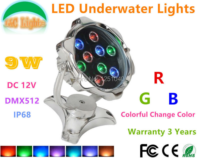 Фотография 304 stainless steel 9W RGB Colorful LED Underwater Light 12V IP68 Waterproof Fountains Lamp DMX512 2 cable Swimming Pool Lights