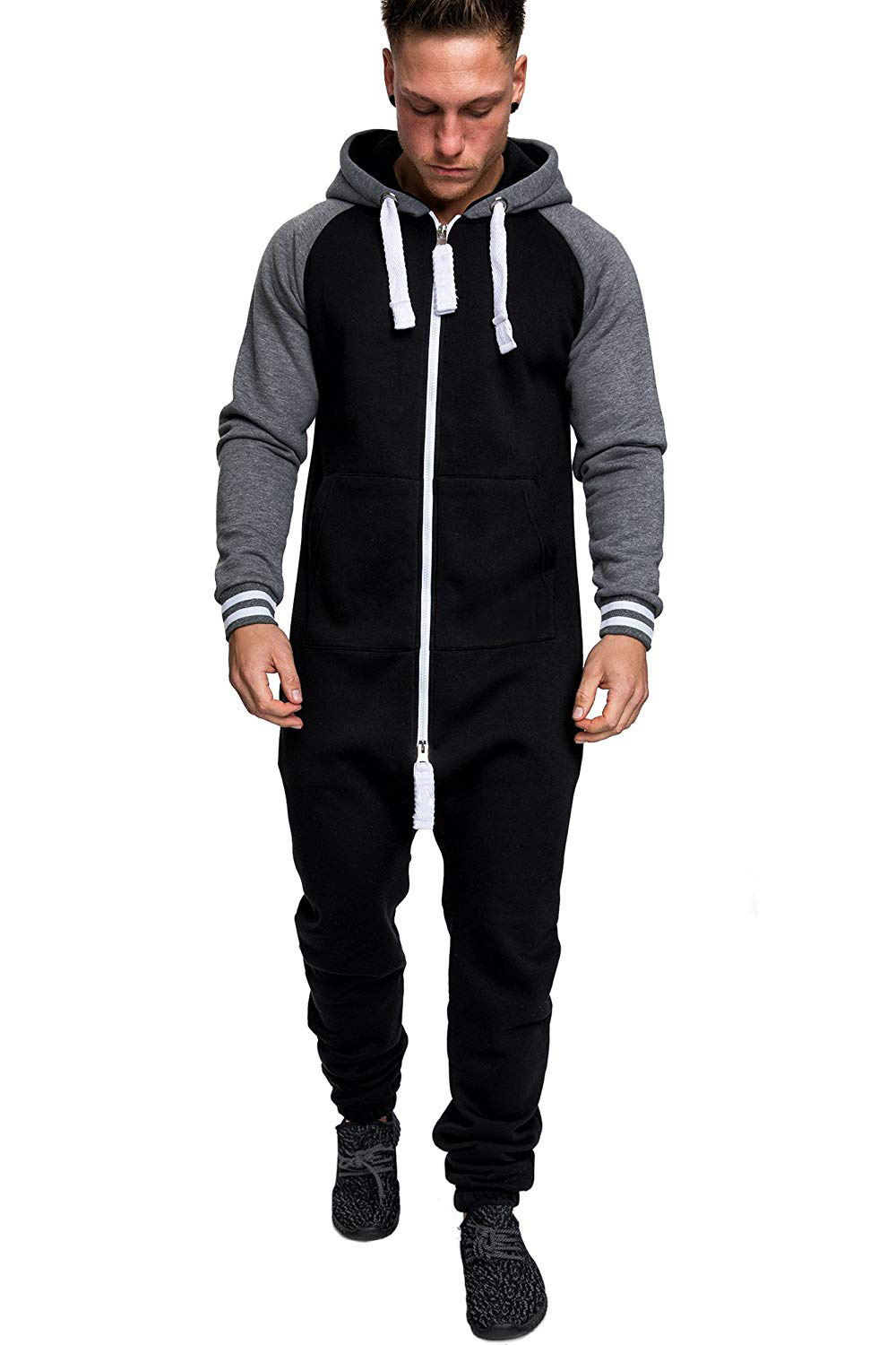 Casual Autumn Hooded Tracksuit Jumpsuit Long Pants Romper For Male Mens Fleece warm Overalls Sweatshirts Male Streetwear X9126 19
