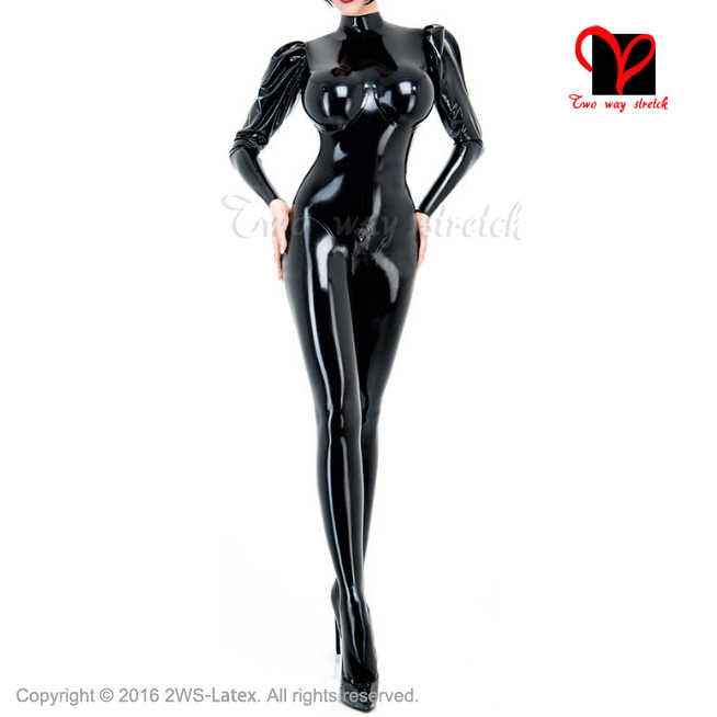 11069f57de9fc Sexy full latex catsuit suit body feet Socks breast cup Long puffed sleeves  rubber catsuit stocking