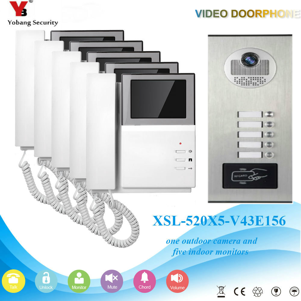 YobangSecurity 4.3 Inch Video Door Phone Doorbell Camera System RFID Access Door Camera For 5 Unit Apartment Video Door Intercom