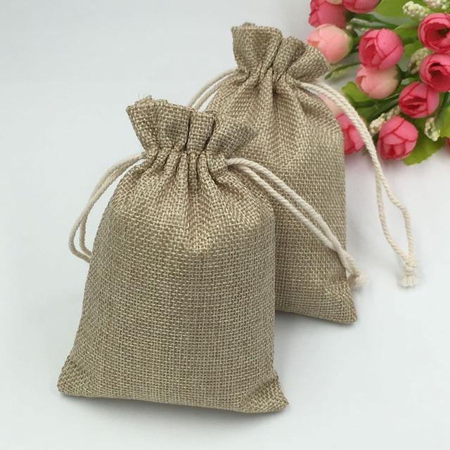 7cc01c7e1 10*14 cm 50 unids vendimia caramelo natural del regalo de Hessia DE LA  arpillera
