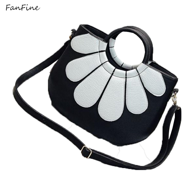 FanFine 5 Colors Korean Brand Classic Bags Women Hand bag PU Leather Handbags Lady Small flower Shoulder Messenger Tote Hand Bag