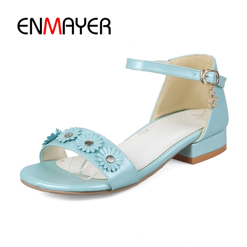 ENMAYER Big Size 32-48 Women Flats Sandal Flower Rivet Ankle Strap Flats Sandals Summer Vacation Beach Shoes Women Sandals CR195 summer tassel sandals fashion rivet gladiator sandals women flats big size hollow shoes woman casual sandal free shipping