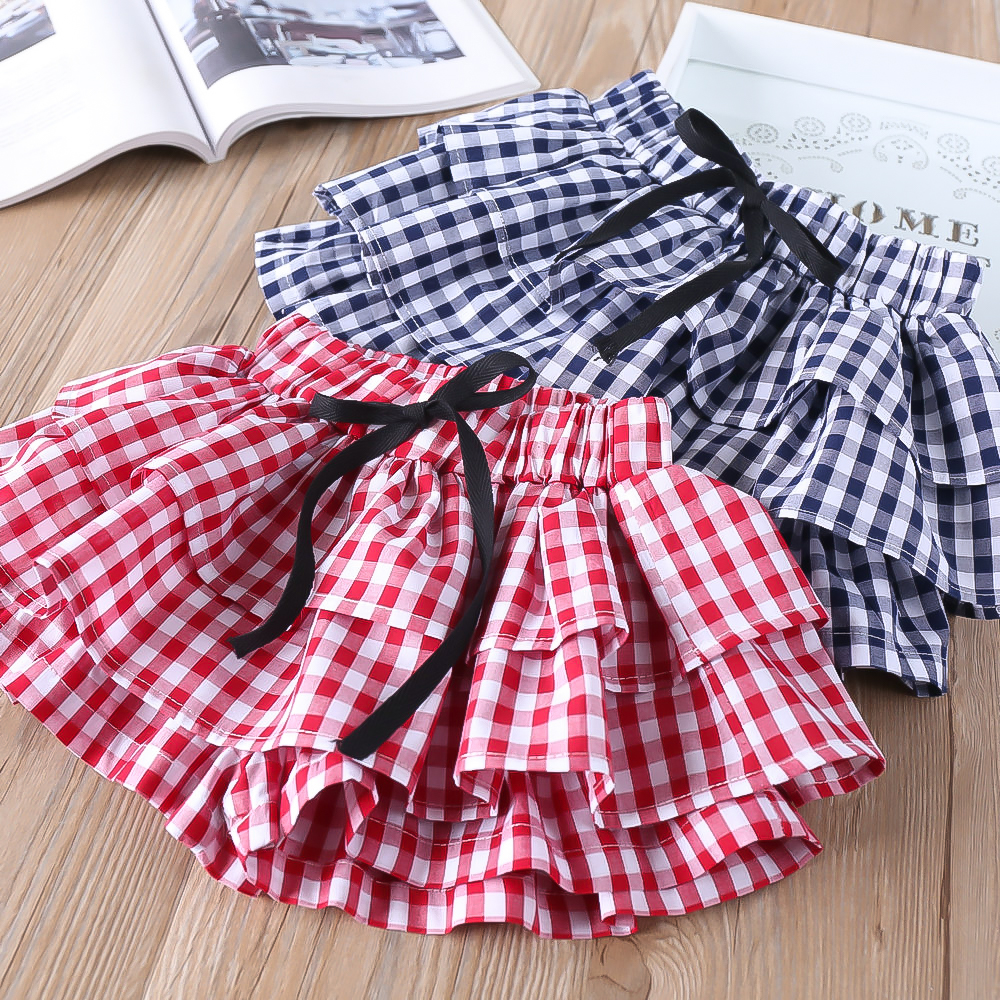 Hurave tutu Casual plaid kids skirts for girls shorts bow baby Girl clothes Summer shorts Kids Clothes