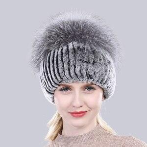 Image 5 - הגעה חדשה חורף נשים סרוג אמיתי רקס ארנב פרווה כובע טוב אלסטי רך טבעי כסף שועל פרווה כובעי גבירותיי אמיתי כובעי פרווה
