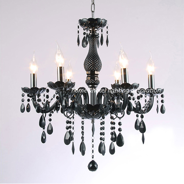 Led lustre élégant avec 6 lumières de luxe noir éclairage en cristal noir lustre en cristal