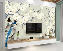 beibehang Custom wallpaper magnolia hand-painted flowers and birds TV background wall decorative painting murals 3d wallpaper beibehang custom wallpaper magnolia hand painted flowers and birds tv background wall decorative painting murals 3d wallpaper