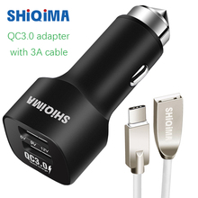 Dual Car Fast Charger Quick Charge 3.0 QC3.0 Car-Charger Adapter Micro USB&Type-C Type C Cable for aukey Huawei P9 honor 8 9 V8(China)
