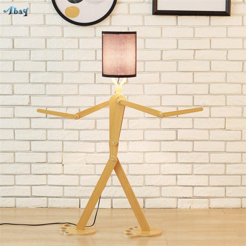 Modern Match Man Robot Wood Floor Lamps Standing Living Room Children's Bedroom Adjust Posture Floor Lights Art Deco Fixtures