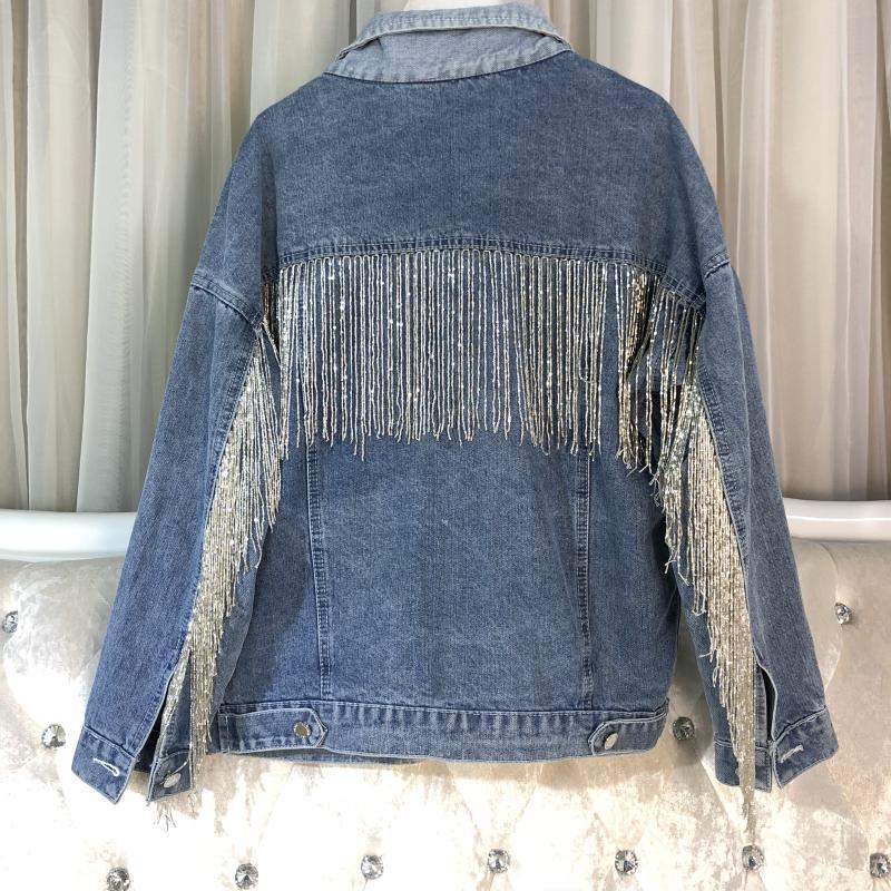LANMREM 2019 Spring New Women Fashion Tassel Patchwork Denim Twinset Turn down Collar Coat High Waist