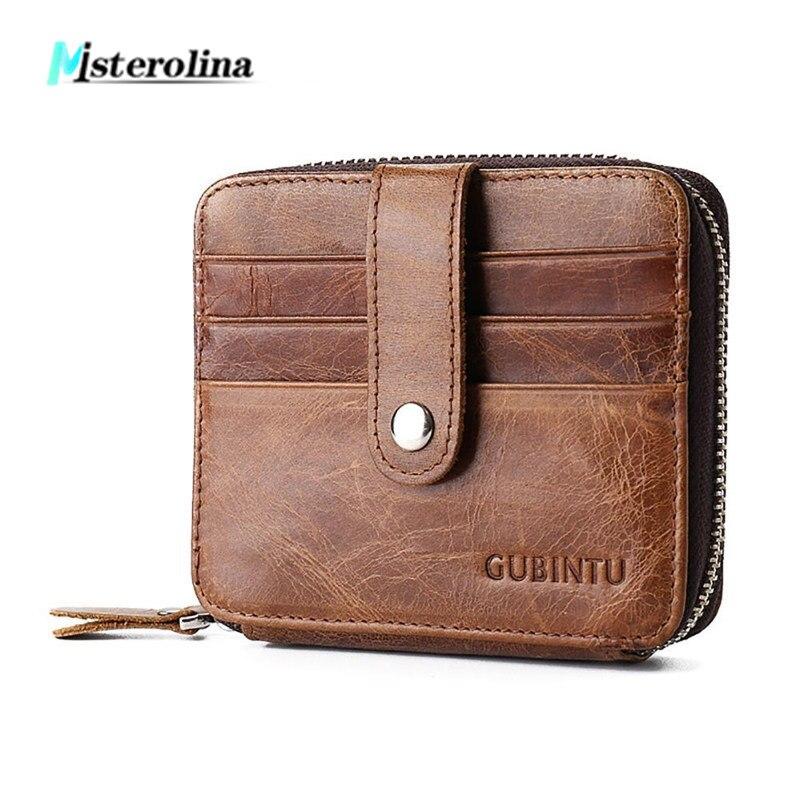 Misterolina 2018 Men Business Gunuine leather Wallet 12 card bits retro short wallets with zipper Multifunctional purse Wallets