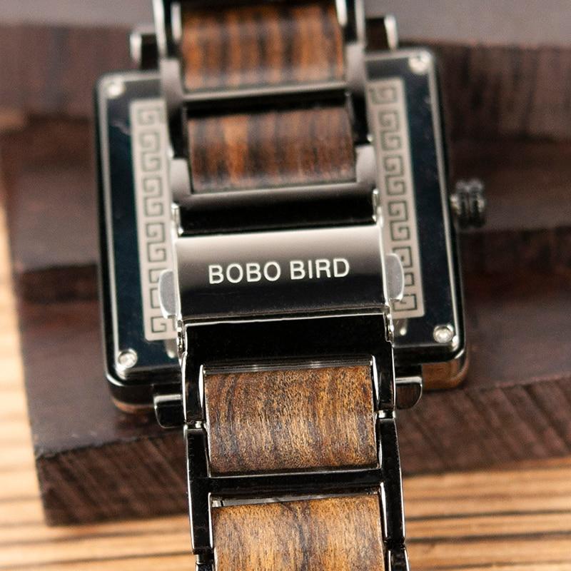 BOBO BIRD 2019 Square Design Unisex Wooden Watches 16