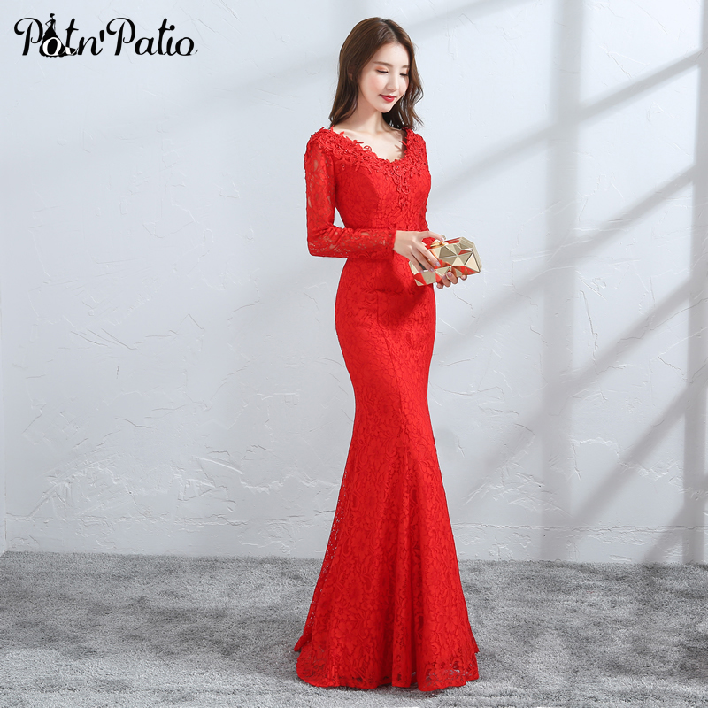 Red Lace Mermaid Evening Dress with Long-Sleeve Elegant V-Neck Floor ...