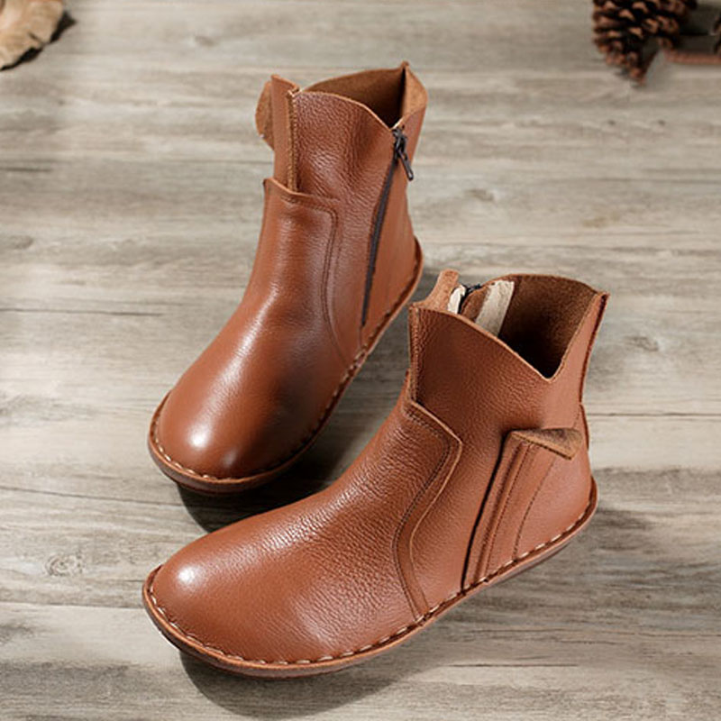 ФОТО 35-42 Hand-made Genuine Leather shoes Woman Ankle Boots Flat Ladies Rubber Boots Female Spring/Autumn Footwear (5062)