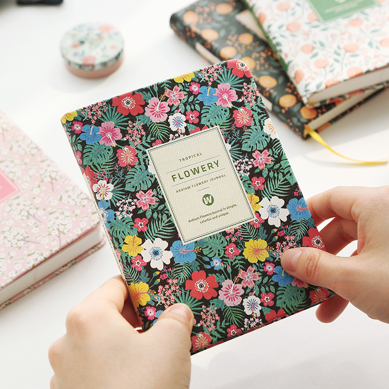 Vintage Weekly Planner Floral Schedule Dairy Book PU Leather Notebook Lovely Stationery Kawaii School Office Supplies