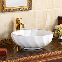 Modern minimalist household bowl ceramic washbasin bathroom above counter basin round art basin LO622149