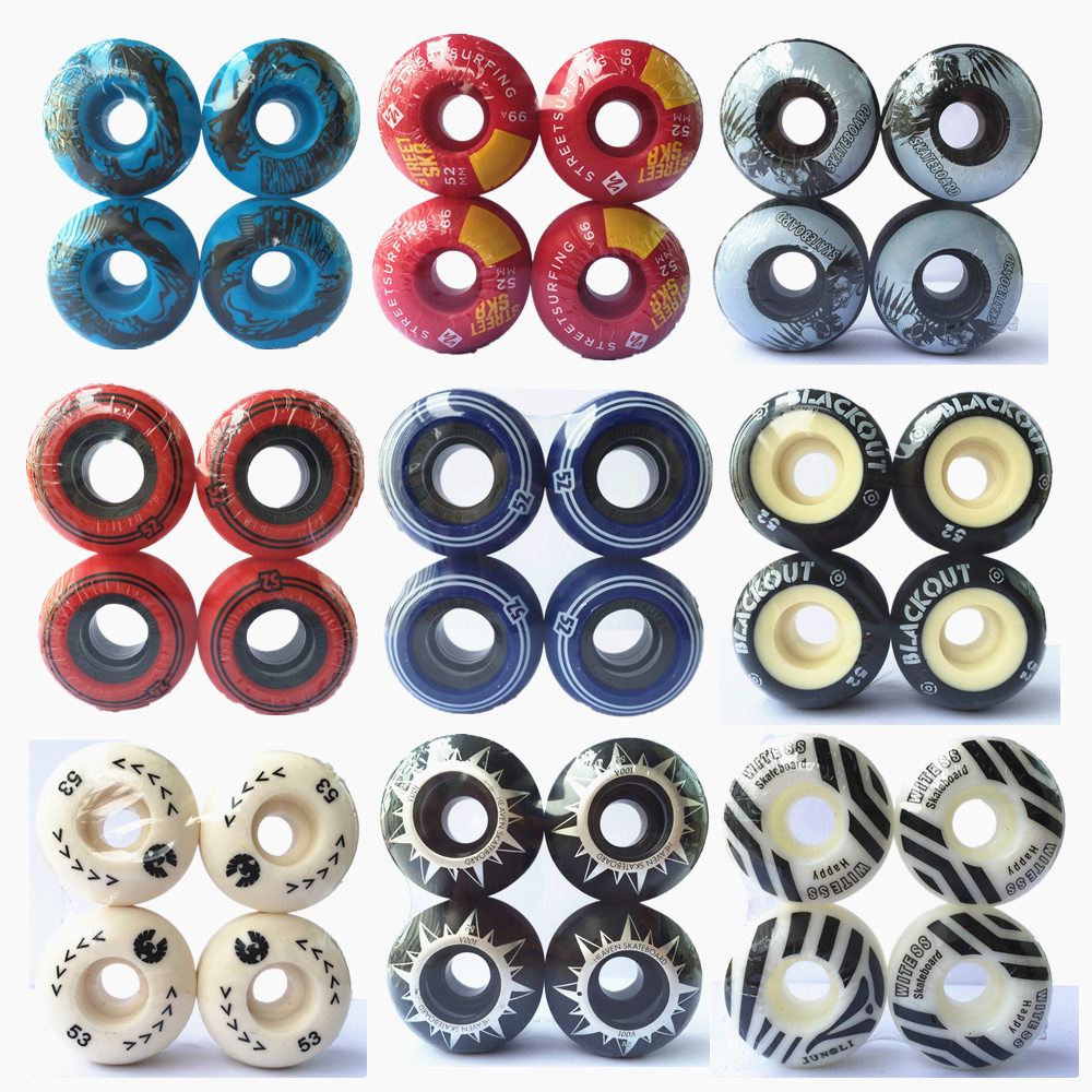 4pcs /Set Pro Skateboard Wheels 51/52/53/54/55mm Skate Wheels High-Density PU Free Sliding For Rough Grounds Asphalt Road Skate